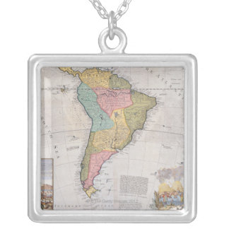 Map of South America 3 Silver Plated Necklace