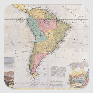 Map of South America 3 Square Sticker
