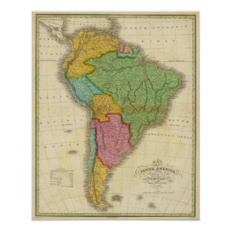 Map of South America 4 Poster