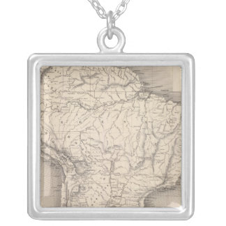 Map of South America 4 Silver Plated Necklace