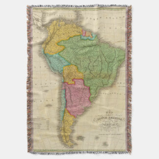 Map of South America 4 Throw Blanket