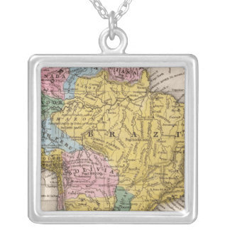 Map of South America 5 Silver Plated Necklace