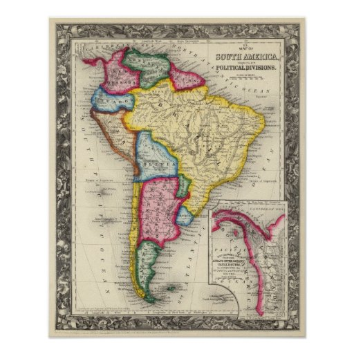 Map Of South America Print