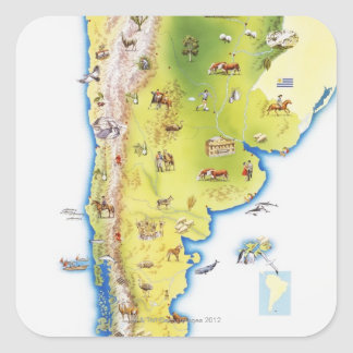 Map of South America Square Sticker