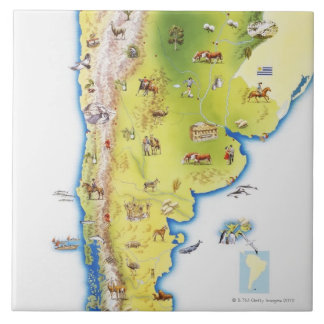 Map of South America Tile