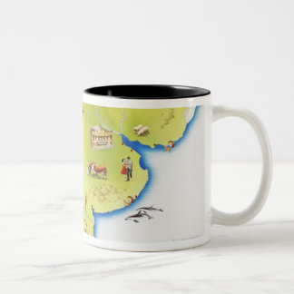 Map of South America Two-Tone Coffee Mug