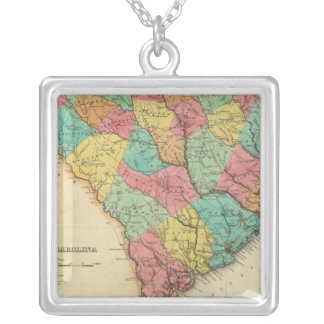 Map Of South Carolina Silver Plated Necklace