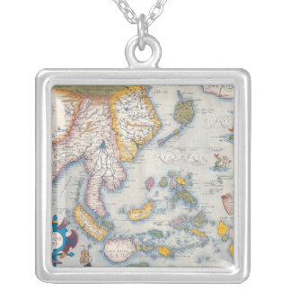 Map of South East Asia 2 Silver Plated Necklace