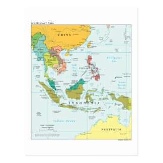 Map of South-East-Asia Postcard