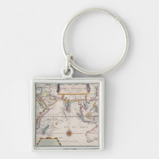 Map of South East Asia Silver-Colored Square Key Ring