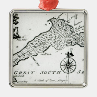 Map of South Pacific Island, 1800 Christmas Ornament