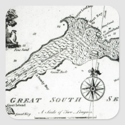 Map of South Pacific Island, 1800 Square Stickers