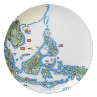 Map of southeastern Asia Dinner Plate