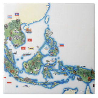 Map of southeastern Asia Tile