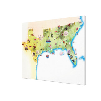 Map of Southern United States of America, with Canvas Print