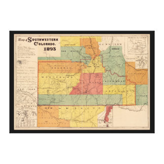 Map of Southwestern Colorado (1893) Canvas Print