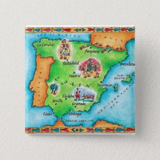 Map of Spain 15 Cm Square Badge