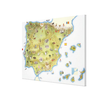 Map of Spain and Portugal Canvas Print