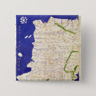 Map of Spain and Portugal, from 'Geographia' 15 Cm Square Badge