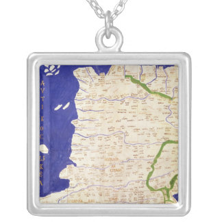 Map of Spain and Portugal, from 'Geographia' Silver Plated Necklace