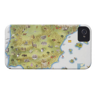 Map of Spain and Portugal iPhone 4 Case-Mate Case