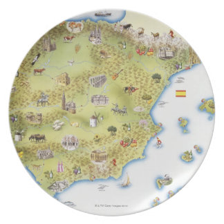 Map of Spain and Portugal Plate