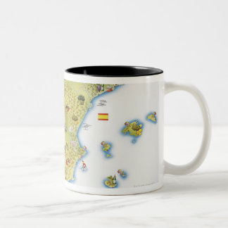 Map of Spain and Portugal Two-Tone Coffee Mug