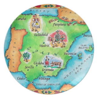 Map of Spain Plate
