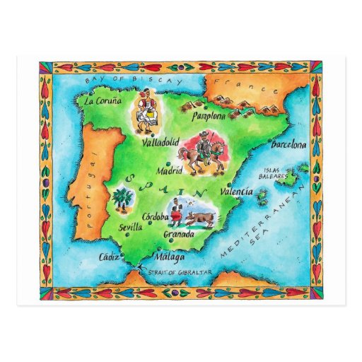 Map of Spain Postcards