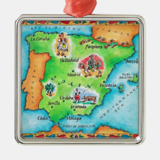 Map of Spain Silver-Colored Square Decoration