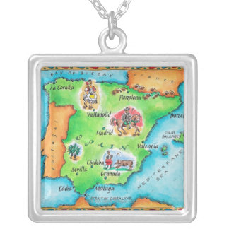 Map of Spain Silver Plated Necklace