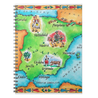 Map of Spain Spiral Note Books
