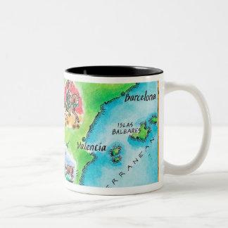 Map of Spain Two-Tone Coffee Mug
