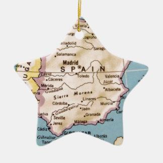Map of Spain Vintage Design Ceramic Star Decoration