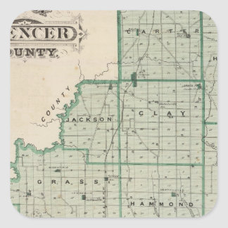 Map of Spencer County Square Sticker