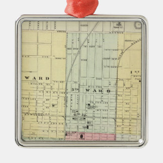 Map of Springfield City Silver-Colored Square Decoration