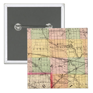 Map of St Clair County, Michigan 15 Cm Square Badge
