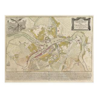 Map of St. Petersburg Russia, 1737 Postcard
