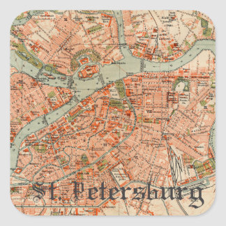 Map of St Petersburg Square Sticker
