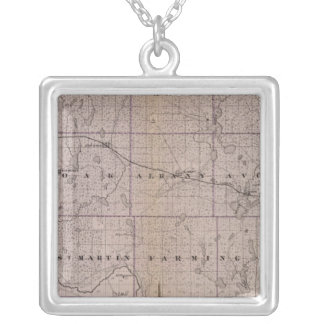 Map of Stearns County, Minnesota Silver Plated Necklace