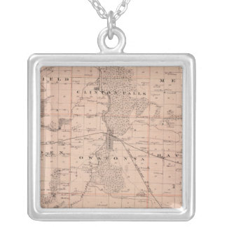 Map of Steele County, Minnesota Silver Plated Necklace