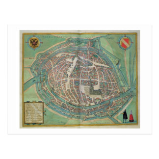Map of Strasbourg, from 'Civitates Orbis Terrarum' Postcard