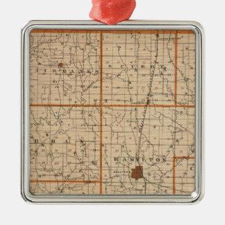 Map of Sullivan County Silver-Colored Square Decoration