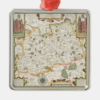 Map of Surrey, engraved by Jodocus Hondius Silver-Colored Square Decoration