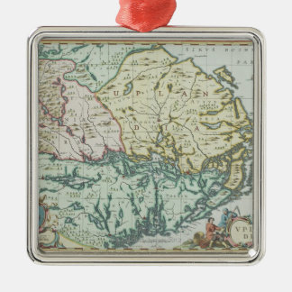 Map of Sweden Silver-Colored Square Decoration