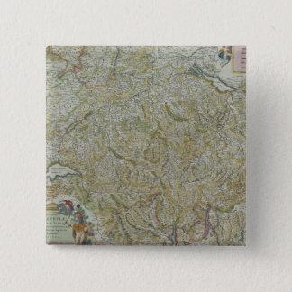Map of Switzerland 2 15 Cm Square Badge