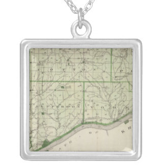 Map of Switzerland County Silver Plated Necklace