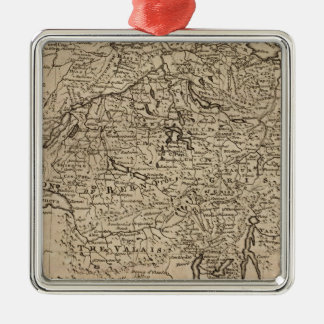Map of Switzerland Silver-Colored Square Decoration