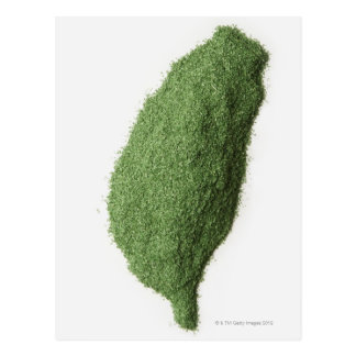 Map of Taiwan made of grass Postcard