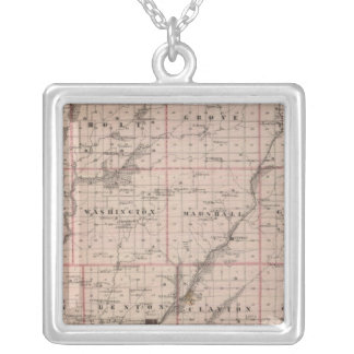 Map of Taylor County, State of Iowa Silver Plated Necklace